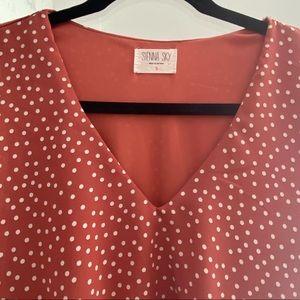 Polka dot midi dress with tie
